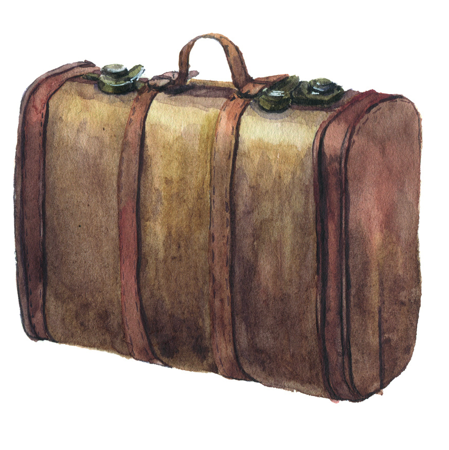 Watercolor baggage set including leather vintage suitcase and polka dot suitcase. Hand painted illustration isolated on white background. For design, textile and background