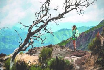 Woman traveler at Madeira mountain path between Pico Ruivo and Pico Areeiro