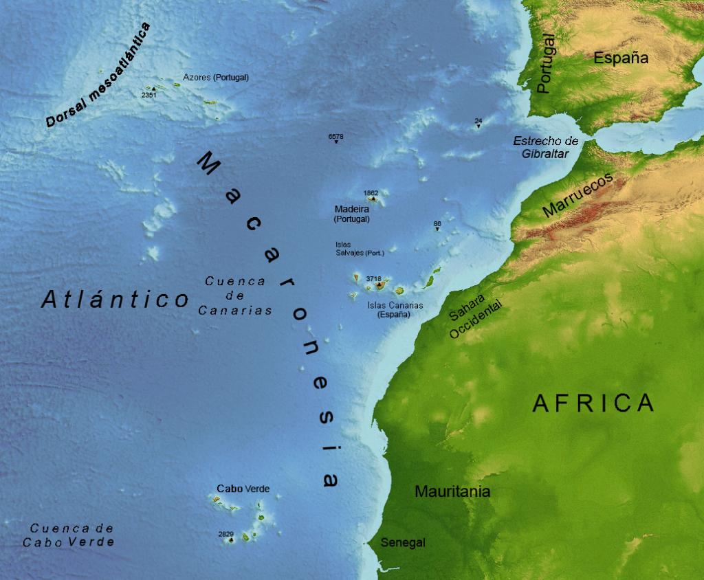 Mapa de Macaronesia. Vía Wikipedia Commons: Osado